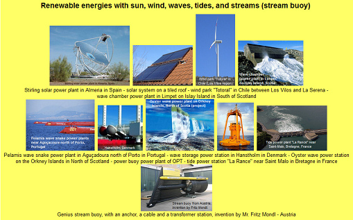 Energy Turnaround with renewable                                   energies: sun, wind, waves, tides, and                                   streams (stream buoy)