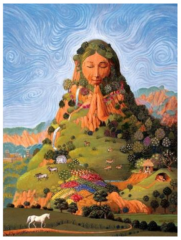 Mother Earth with the                               posture of deep respect